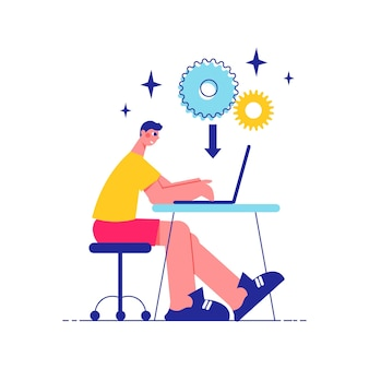 Brainstorm team work composition with side view of man working at table with laptop and gear icons with arrow illustration