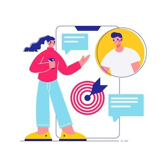 Составьте мозговой штурм для совместной работы с женщиной, смотрящей на смартфон со значком цели и иллюстрацией аватара коллеги-мужчины