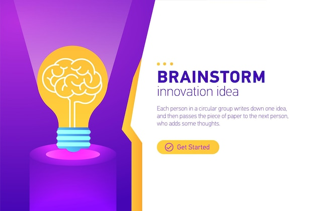 Brainstorm template layout infographic with brainstorming