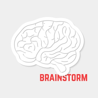 Brainstorm with white outline brain icon. concept of neurology, creation, intellectual, psychology, motivation. isolated on gray background. flat style trend modern logo design vector illustration