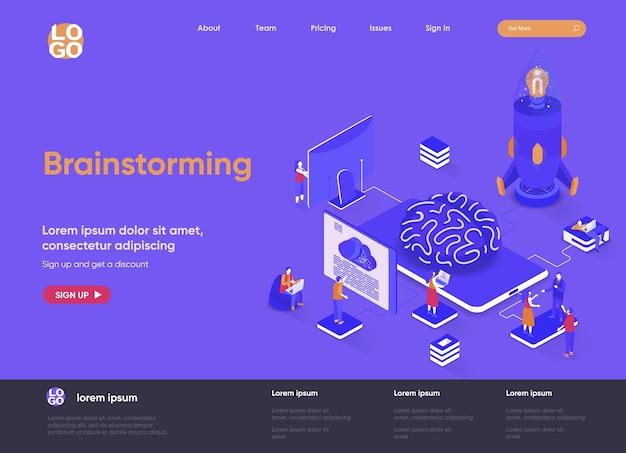 Мозговой штурм 3d изометрической иллюстрации веб-сайта целевой страницы с персонажами людей