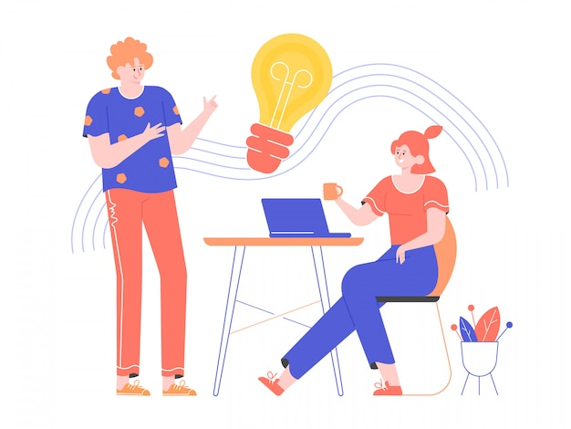 브레인 스토밍 및 아이디어 창출. 크리에이티브 팀에서 일하십시오. 여자는 노트북으로 책상에 앉아있다. 그 남자는 근처에 서 있습니다. 전구 아이콘입니다. 프로젝트에 대한 토론. 평면 그림