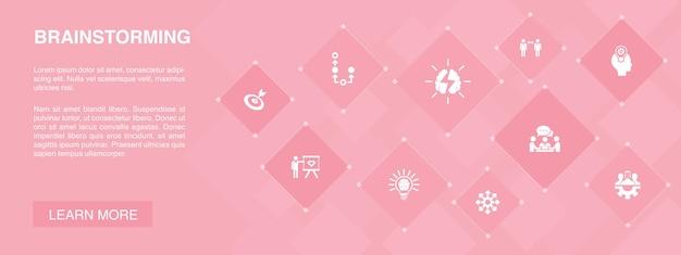브레인스토밍 배너 10 아이콘 concept.imagination, 아이디어, 기회, 팀워크 간단한 아이콘