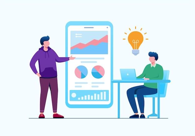 Brainstorming business or teamwork concept flat vector illustration for banner landing page