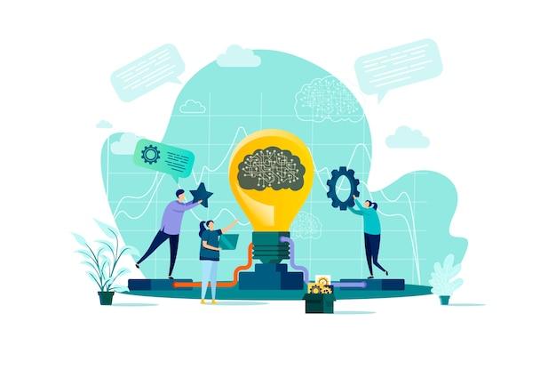 Концепция мозгового штурма в стиле с персонажами людей в ситуации