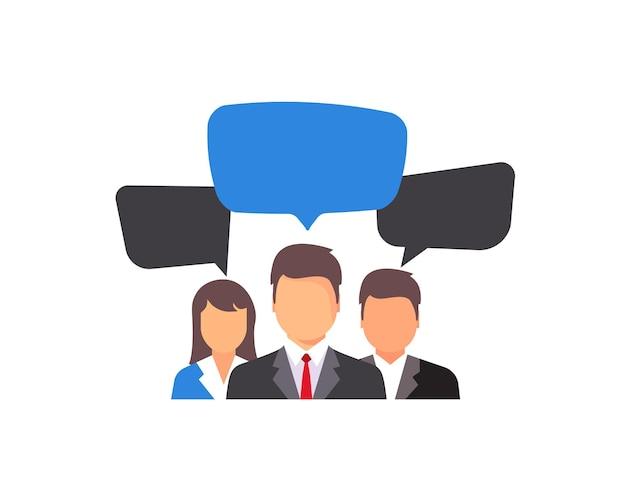 브레인스토밍 아이콘입니다. 대화 연설 거품이 있는 사람 아이콘입니다. 새로운 창의적인 프로젝트 개념