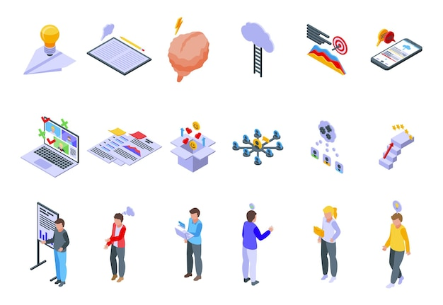 Brainstorming icons set. isometric set of brainstorming vector icons for web design isolated on white background