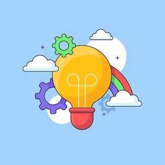 ブレーンストーミングアイデアビジュアルコンセプトデザイン電球レインボーインスピレーションベクトルイラスト
