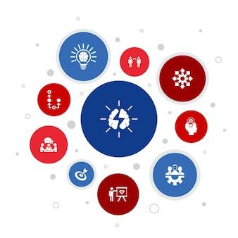 Мозговой штурм инфографики 10 шагов пузыря дизайна. воображение, идея, возможность, работа в команде простые значки