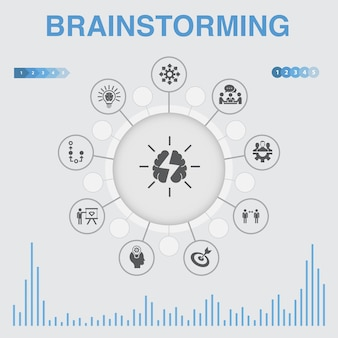 Мозговой штурм инфографики с иконами. содержит такие значки, как воображение, идея, возможность, командная работа.