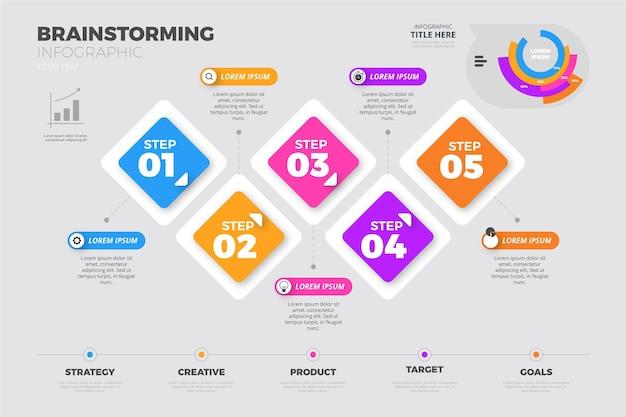 フラットなデザインのインフォグラフィックをブレーンストーミング
