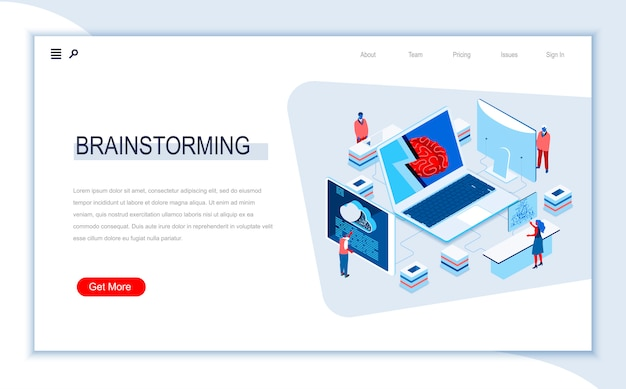 Brainstorming isometric landing page template.