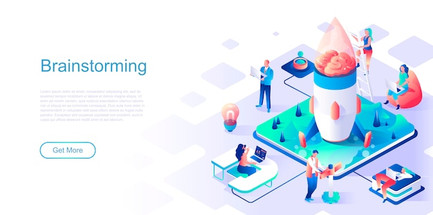 Brainstorming isometric landing page vector template.