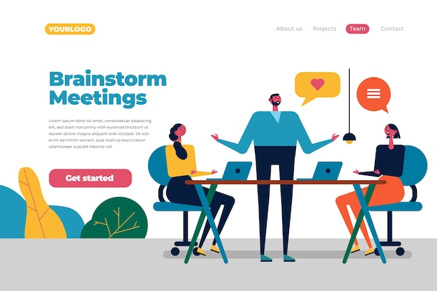 Brainstorming concetto di landing page