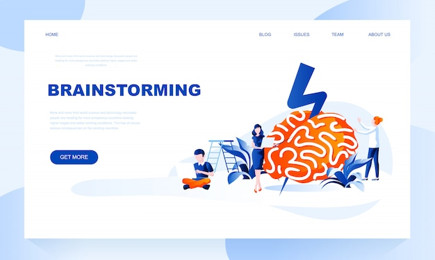Brainstorming landing page template with header