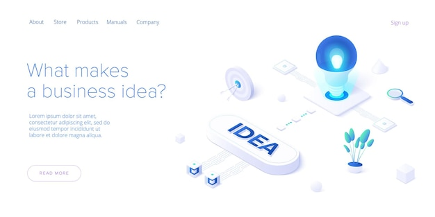 Brainstorming session concept in isometric design.  web banner template