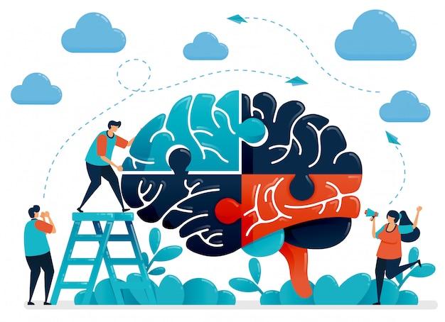 脳のパズルを解くためのブレインストーミング。チームワークとコラボレーションのメタファー。課題と問題の処理におけるインテリジェンス。