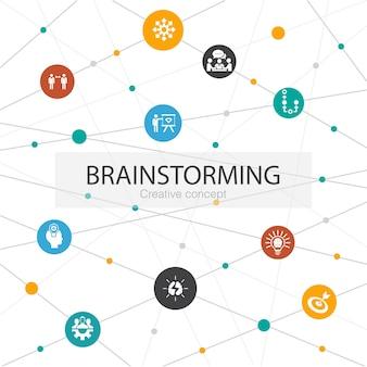 シンプルなアイコンでトレンディなウェブテンプレートをブレインストーミングします。想像力、アイデア、機会、チームワークなどの要素が含まれています