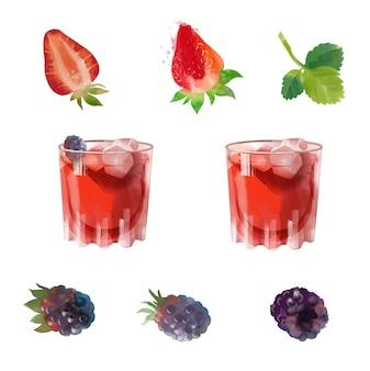 Bramble gin  watercolor cocktail illustration