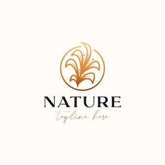 Шаблон логотипа монолинии lineart листьев ветви, изолированные на белом фоне