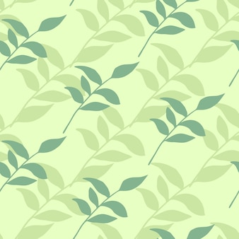 Branch leafs seamless hand drawn silhouettes pattern.