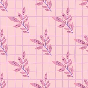 분기 잎 원활한 낙서 패턴. 핑크 컬러 팔레트에서 체크와 꽃 실루엣과 배경.