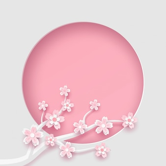 Branch and sakura flower frame circle template in vector paper art concept.