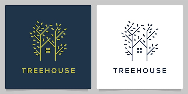 선 윤곽선 스타일로 분기 트리 하우스 녹색 로고 디자인