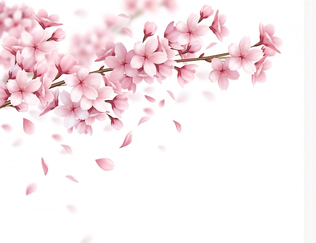 Branch with beautiful sakura flowers and falling petals realistic composition illustration