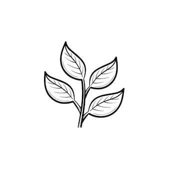 잎 손으로 그린 개요 낙서 아이콘이 있는 지점. 흰색 배경에 격리된 인쇄, 웹, 모바일 및 인포그래픽을 위한 잎 벡터 스케치 삽화가 있는 젊은 봄 분기.