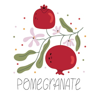 Branch with pomegranate fruit and flowers. spring mood. health. illustration for children's book. cute poster.simple illustration.