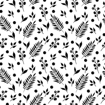 Branches and berries black silhouette elements isolated seamless pattern