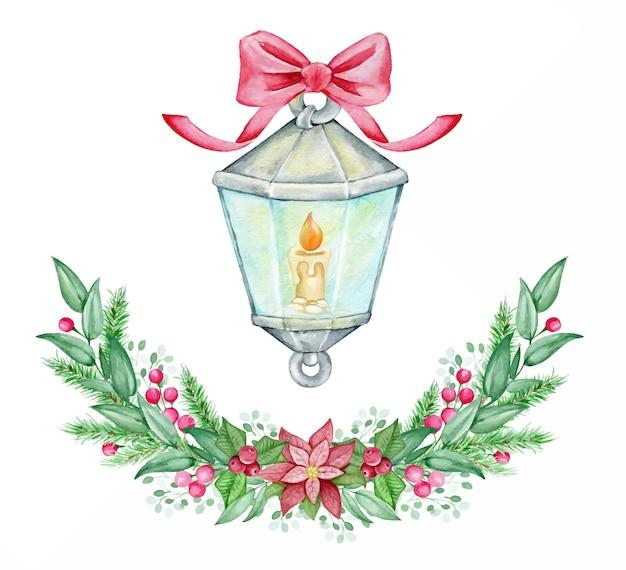 Ветки, ягоды, пуансеттия, ветки, фонарь, внутри свеча. рождественская акварель концепция