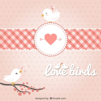 Branches birds in hearts