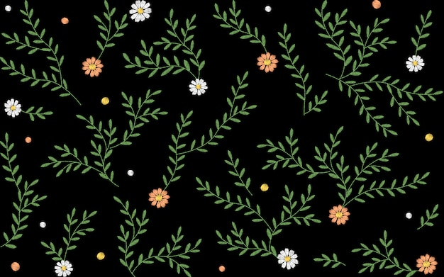 Branches leaves twigs grass herbs seamless pattern.