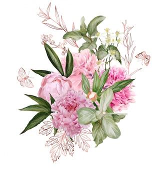 枝、ローズゴールドの花の要素と蝶