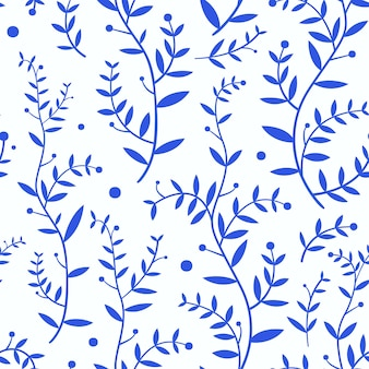Branches with blue leaves on white background pattern