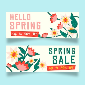 Ветки с цветами плоский дизайн весенние продажи баннеров
