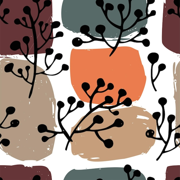 葉、背景、または抽象的なカラフルなブラシの形と植物相のテキスタイルプリントの枝。花の装飾、トレンディでヴィンテージの絵。壁紙のシームレスなパターン、フラットスタイルのベクトル