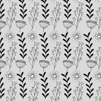 Branches with leaves and flowers with petals background