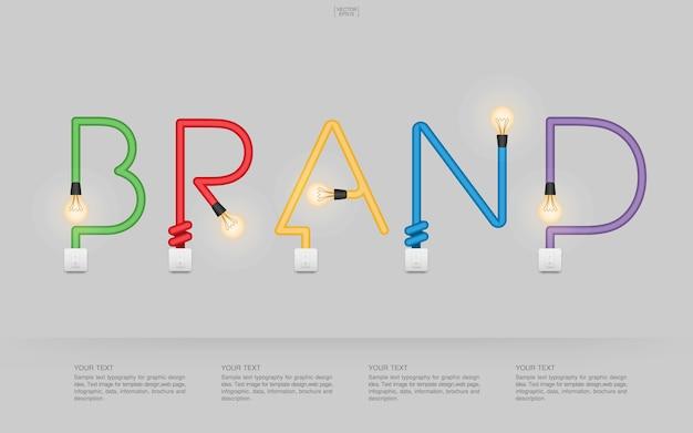 «бренд» абстрактный линейный алфавит лампочки и выключателя на сером фоне