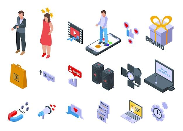 브랜드 대사 아이콘을 설정합니다. 흰색 배경에 고립 된 웹 디자인을 위한 브랜드 대사 벡터 아이콘의 아이소메트릭 세트