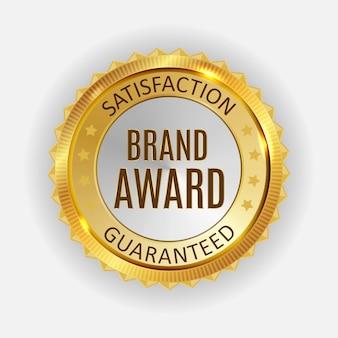 Brand award golden label sign.