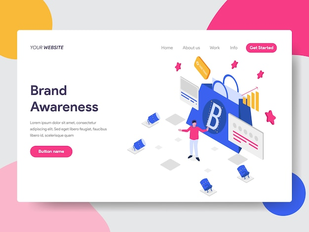 Brand awareness illustration for web pages