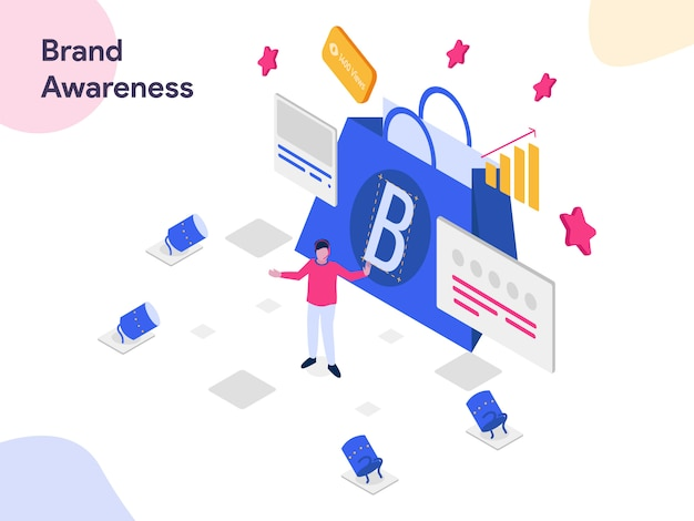 Brand awareness isometric illustration