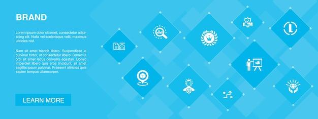브랜드 배너 10 아이콘 concept.marketing, 연구, 브랜드 관리자, 전략 간단한 아이콘