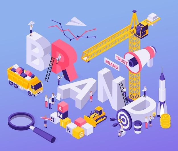 확성기 로켓 발사 대상 크레인 돋보기와 브랜드 빌딩 블록 개념 아이소 메트릭 구성