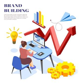 컴퓨터 화면에서 수익 성장 다이어그램을 분석하는 여성과 브랜드 구축 아이디어 아이소 메트릭 그림 구성