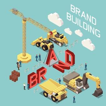 Изометрическая композиция здания бренда с машинами и людьми, работающими на строительной площадке