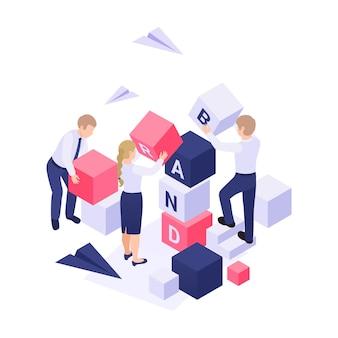 Concetto isometrico di costruzione del marchio con personaggi e illustrazione 3d di blocchi colorati